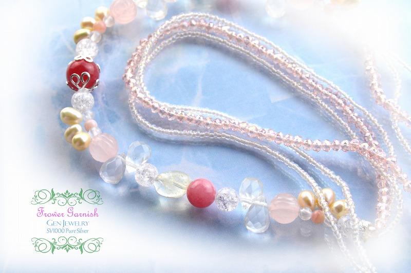 【Frower Garnish】情熱を引き立てる華のレッドピンクネックレス(無添加純銀)-2