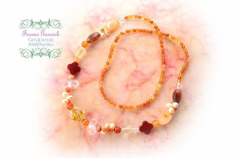 【Frower Garnish】おひさまの温かさを発する華のレッドオレンジネックレス(無添加純銀)