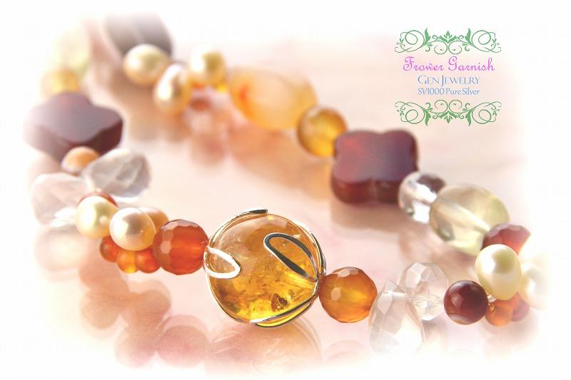 【Frower Garnish】おひさまの温かさを発する華のレッドオレンジネックレス(無添加純銀)-1