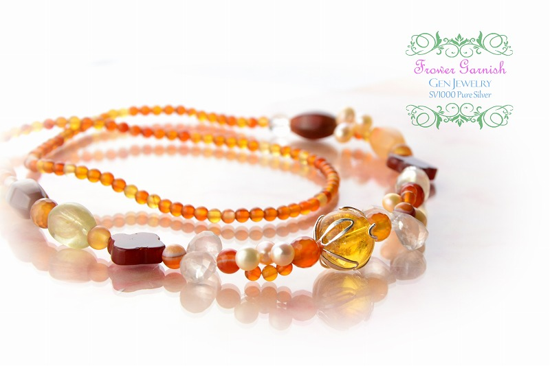 【Frower Garnish】おひさまの温かさを発する華のレッドオレンジネックレス(無添加純銀)-2