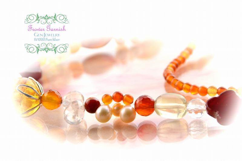 【Frower Garnish】おひさまの温かさを発する華のレッドオレンジネックレス(無添加純銀)-4