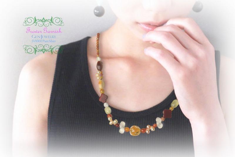 【Frower Garnish】おひさまの温かさを発する華のレッドオレンジネックレス(無添加純銀)-5