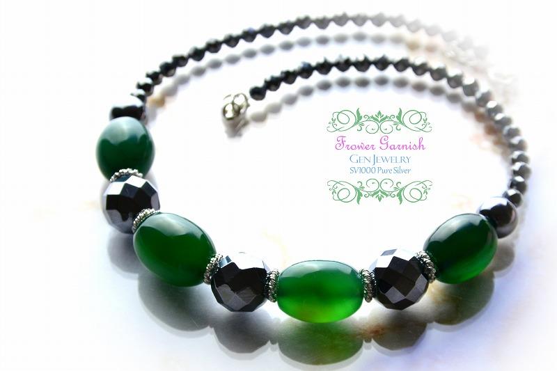 【Frower Garnish】オトナノオンナの穏やかな華のグリーンチョーカー(テラヘルツ・無添加純銀)-1