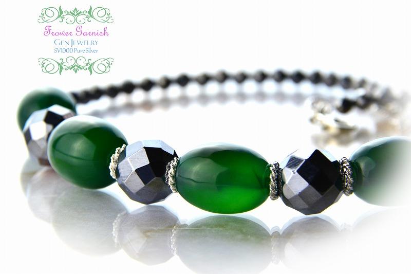 【Frower Garnish】オトナノオンナの穏やかな華のグリーンチョーカー(テラヘルツ・無添加純銀)-3