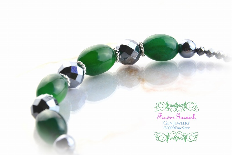 【Frower Garnish】オトナノオンナの穏やかな華のグリーンチョーカー(テラヘルツ・無添加純銀)-4