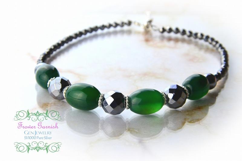 【Frower Garnish】オトナノオンナの穏やかな華のグリーンチョーカー(テラヘルツ・無添加純銀)-5
