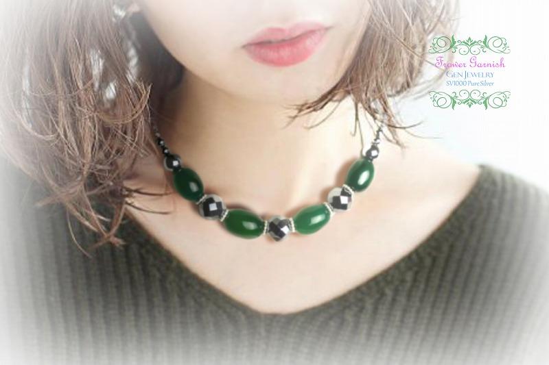 【Frower Garnish】オトナノオンナの穏やかな華のグリーンチョーカー(テラヘルツ・無添加純銀)-6