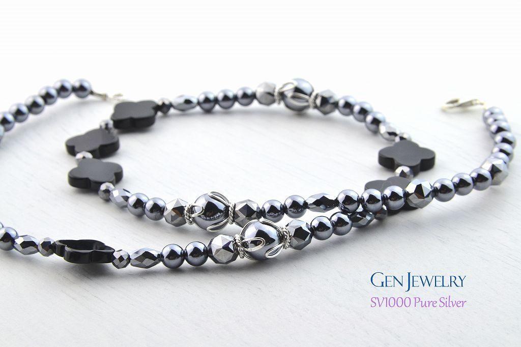 【Frower Garnish】アンシンメトリックなアルハンブラのネックレス(テラヘルツ・無添加純銀)-1