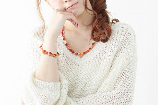 【Frower Garnish】 紅いネックレス 50cm-5
