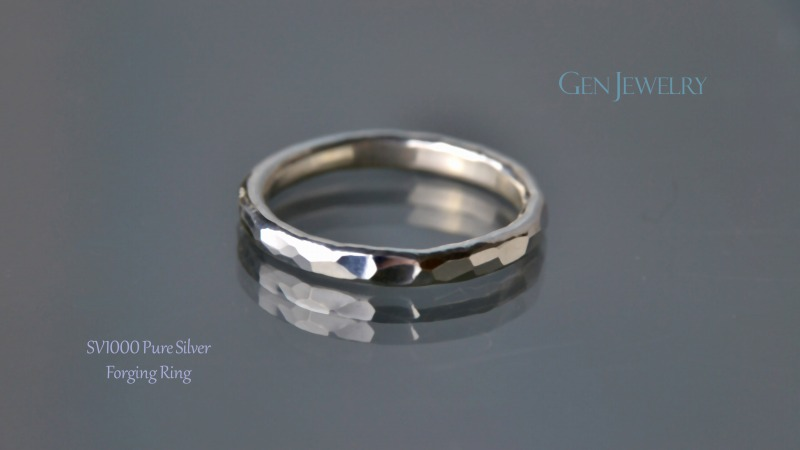 叩き締めて作ったPureSilver Forging Ring(A)-2