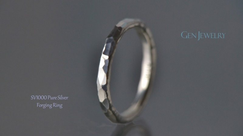 叩き締めて作ったPureSilver Forging Ring(A)-3