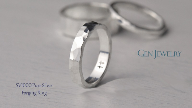 叩き締めて作ったPureSilver Forging Ring(B)