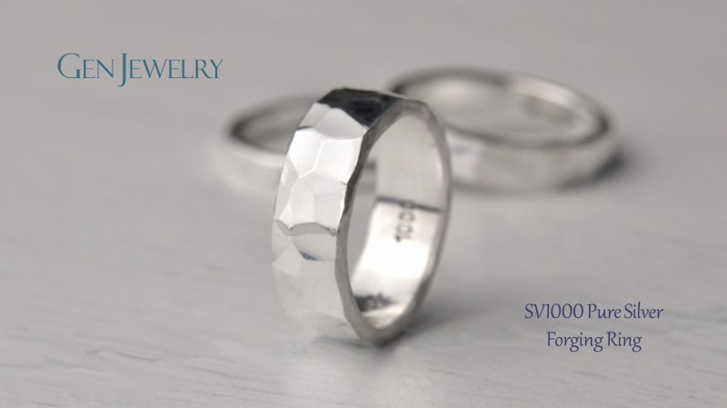 叩き締めて作ったPureSilver Forging Ring(C)