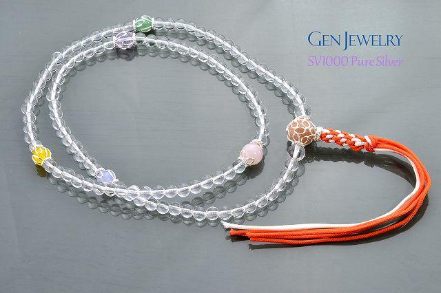 【華数珠】本水晶とオレンジムーンストーン親珠の長数珠