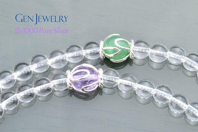 【華数珠】本水晶とオレンジムーンストーン親珠の長数珠-1