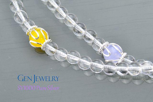 【華数珠】本水晶とオレンジムーンストーン親珠の長数珠-2