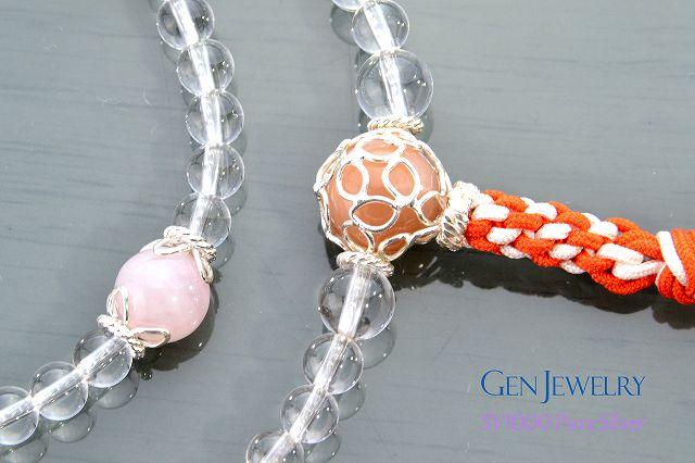 【華数珠】本水晶とオレンジムーンストーン親珠の長数珠-3