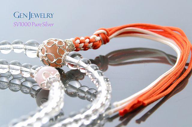 【華数珠】本水晶とオレンジムーンストーン親珠の長数珠-4