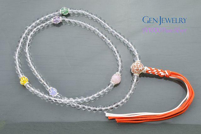 【華数珠】本水晶とオレンジムーンストーン親珠の長数珠-5