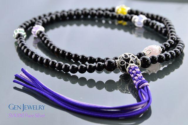 【華数珠】渋く華麗なオニキスの長数珠-1