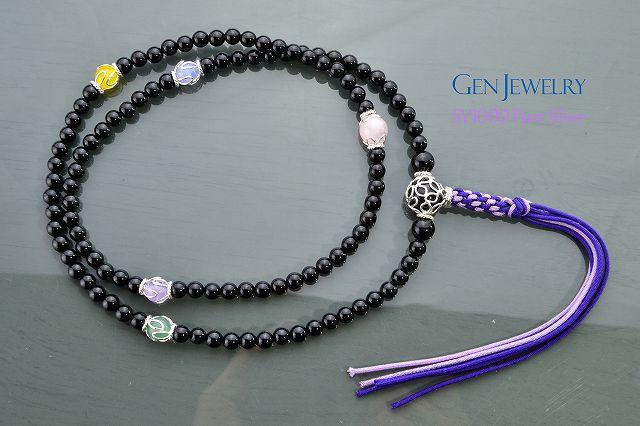 【華数珠】渋く華麗なオニキスの長数珠-5