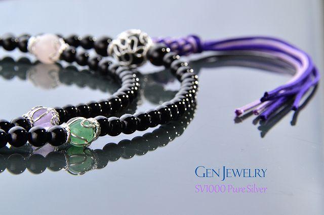 【華数珠】渋く華麗なオニキスの長数珠-6