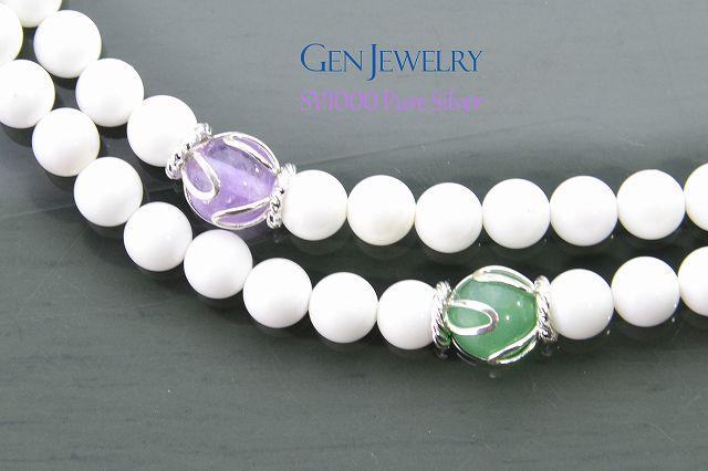 【華数珠】ホワイトクォーツァイトの長数珠-1