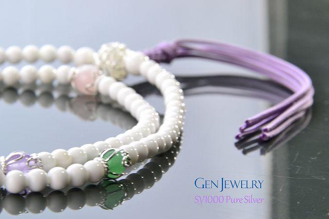 【華数珠】ホワイトクォーツァイトの長数珠-3
