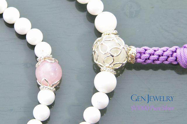 【華数珠】ホワイトクォーツァイトの長数珠-4