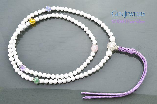 【華数珠】ホワイトクォーツァイトの長数珠-5