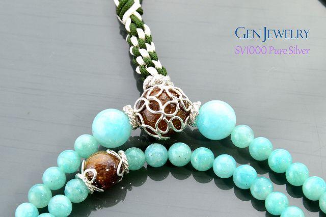 【華数珠】アマゾナイトとルチルクォーツの長数珠-1
