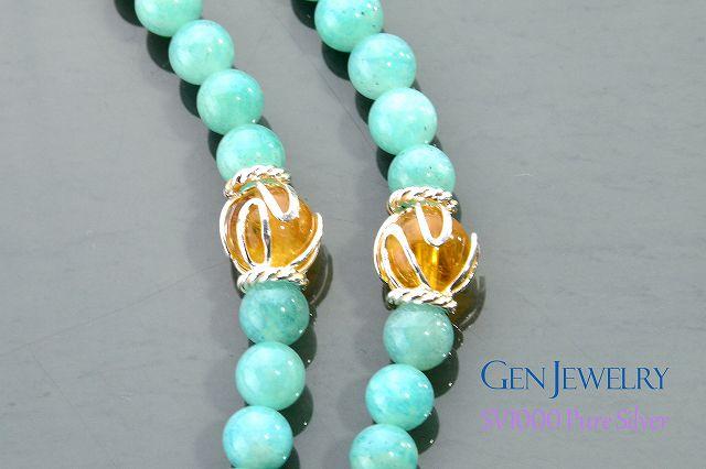 【華数珠】アマゾナイトとルチルクォーツの長数珠-2
