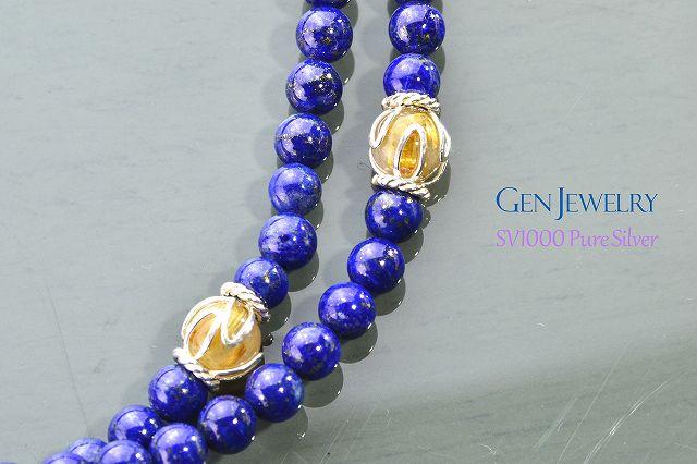 【華数珠】ラピスブルーとゴールドの華数珠-2