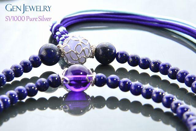 【華数珠】ラピスブルーとゴールドの華数珠-3