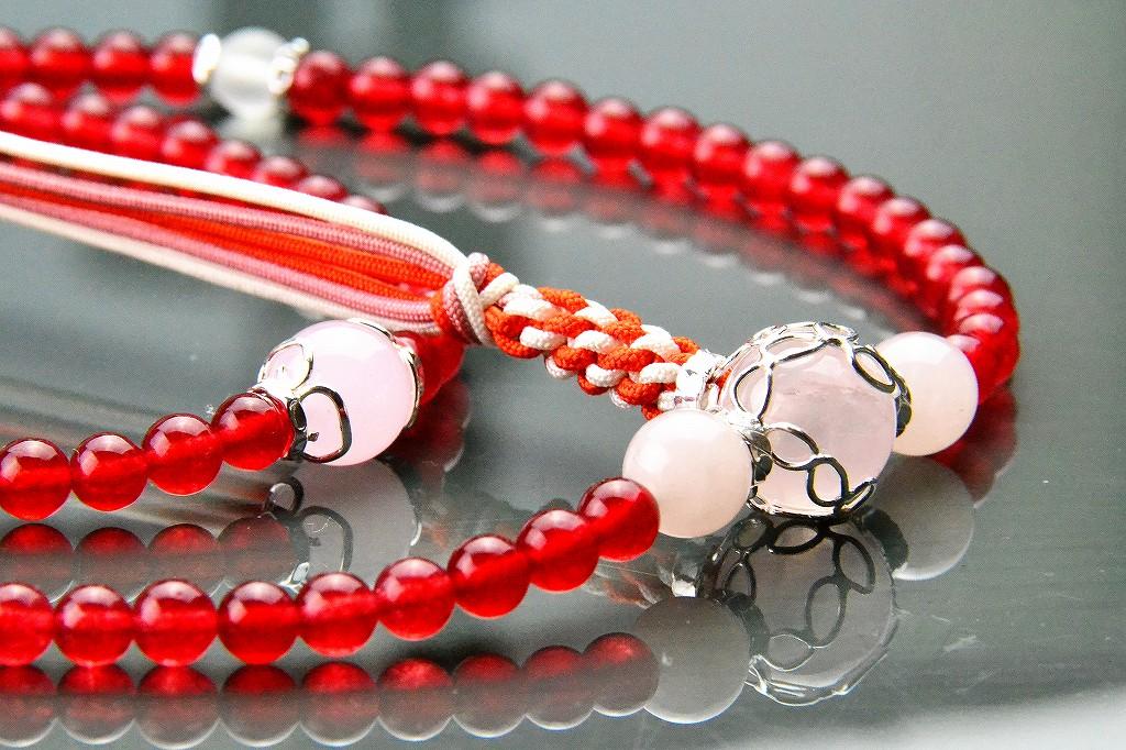 【華数珠】クリアな紅い数珠-1