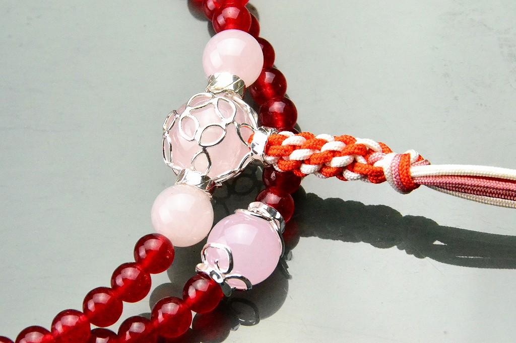 【華数珠】クリアな紅い数珠-3