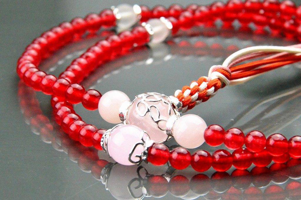 【華数珠】クリアな紅い数珠-6
