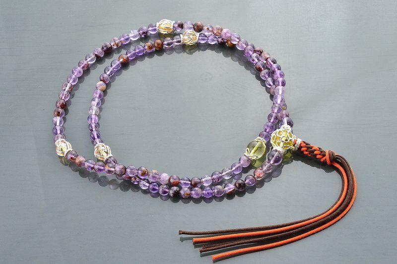 【華数珠】ガーデンアメジストエレスチャルクォーツの華数珠