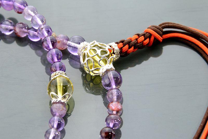 【華数珠】ガーデンアメジストエレスチャルクォーツの華数珠-1