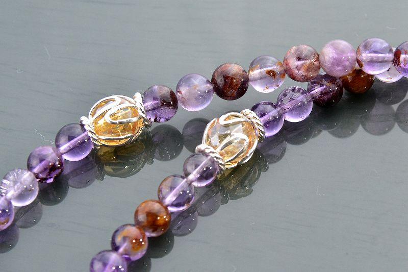 【華数珠】ガーデンアメジストエレスチャルクォーツの華数珠-2