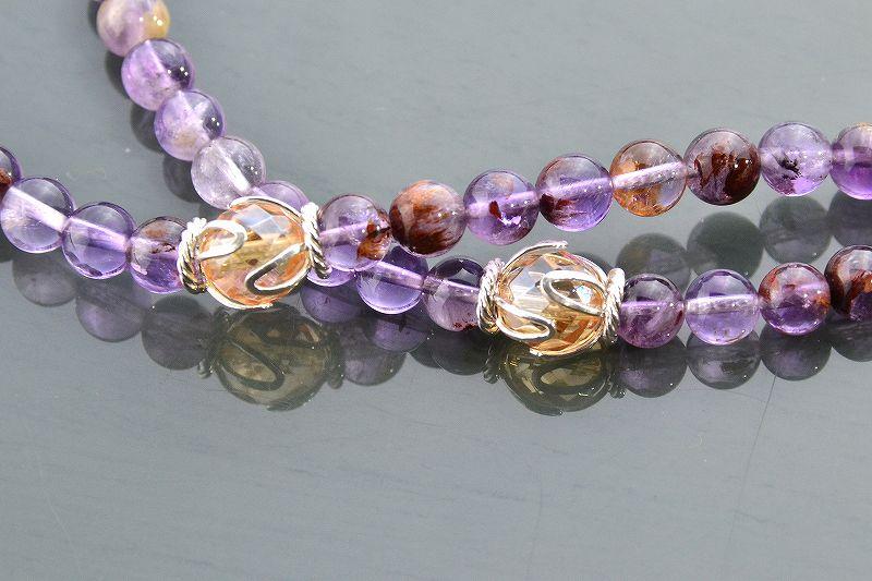 【華数珠】ガーデンアメジストエレスチャルクォーツの華数珠-3