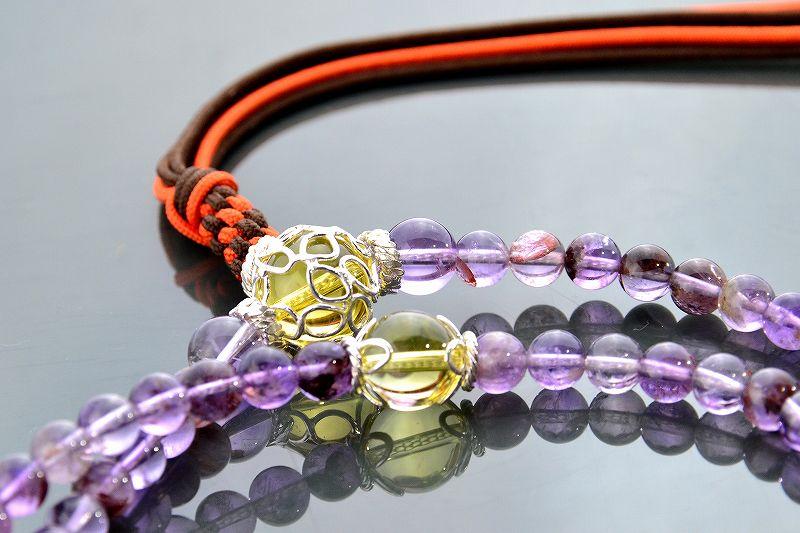 【華数珠】ガーデンアメジストエレスチャルクォーツの華数珠-4