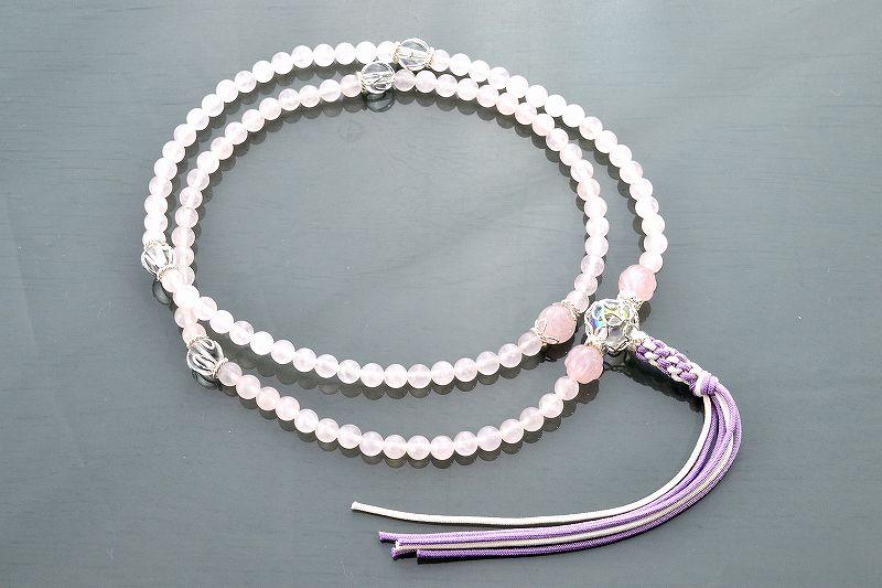【華数珠】ローズクォーツと水晶の華数珠