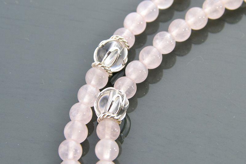 【華数珠】ローズクォーツと水晶の華数珠-1