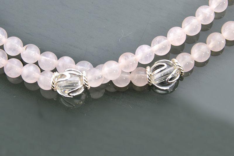 【華数珠】ローズクォーツと水晶の華数珠-2