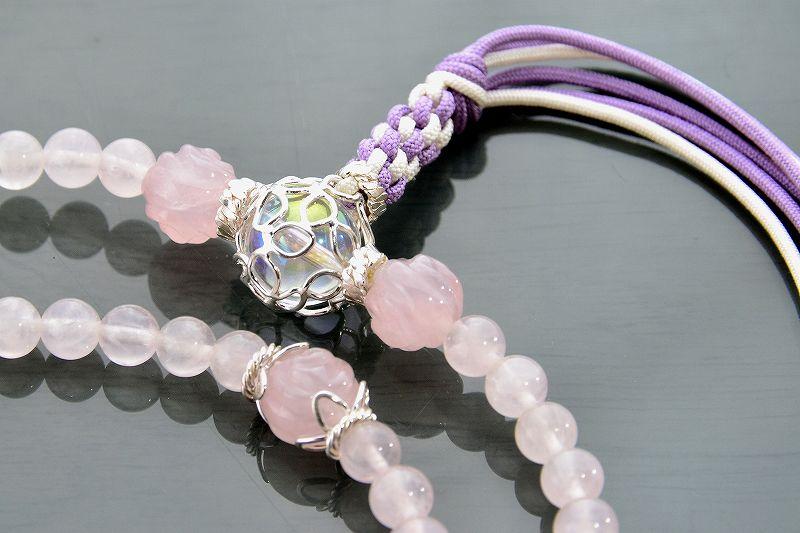 【華数珠】ローズクォーツと水晶の華数珠-3