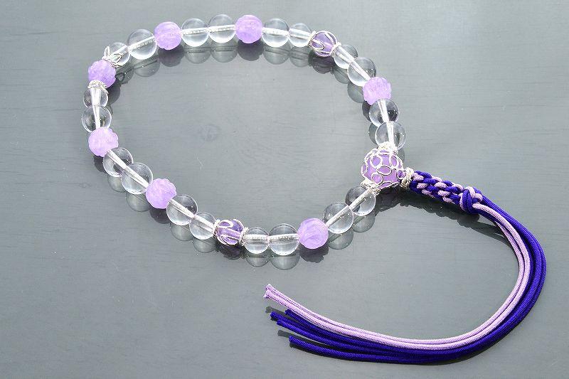 【華念珠】ラベンダーアメジストと水晶の華念珠