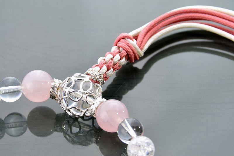 【華念珠】ローズクォーツとクラック水晶の華念珠-1