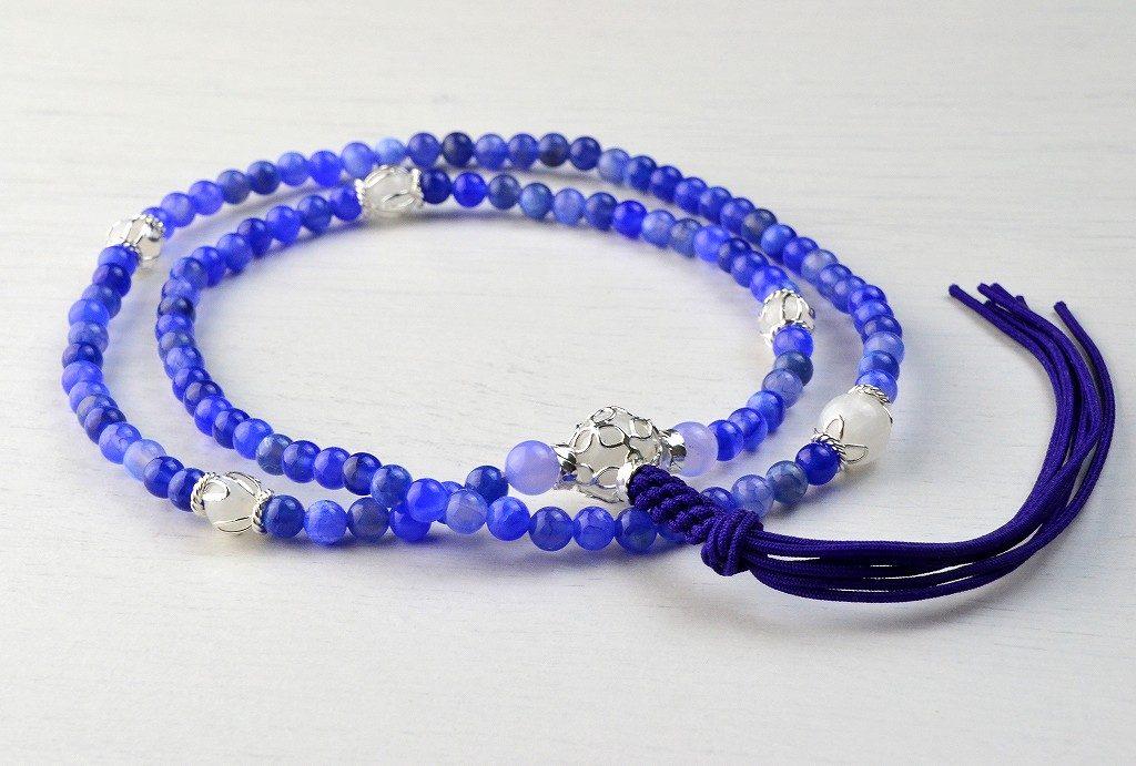 【華数珠】ブルーアゲートの華数珠