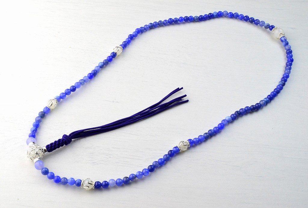 【華数珠】ブルーアゲートの華数珠-1